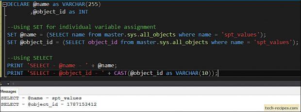 SELECT vs SET - SQL Server