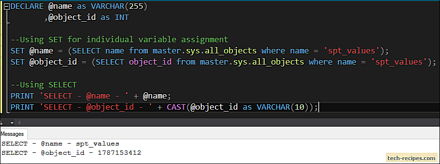 SELECT vs SET For Variable Assignment In SQL Server
