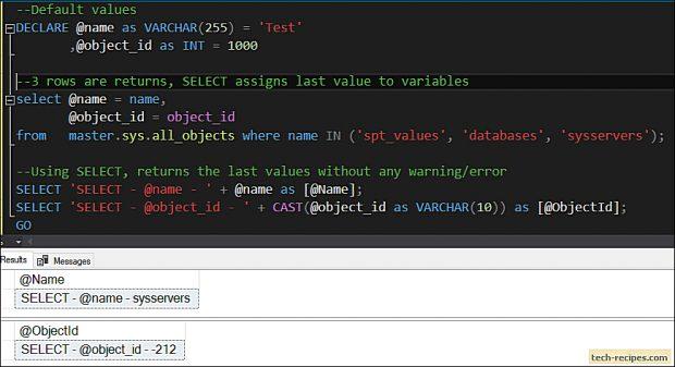 SELECT vs SET - SQL Server_6