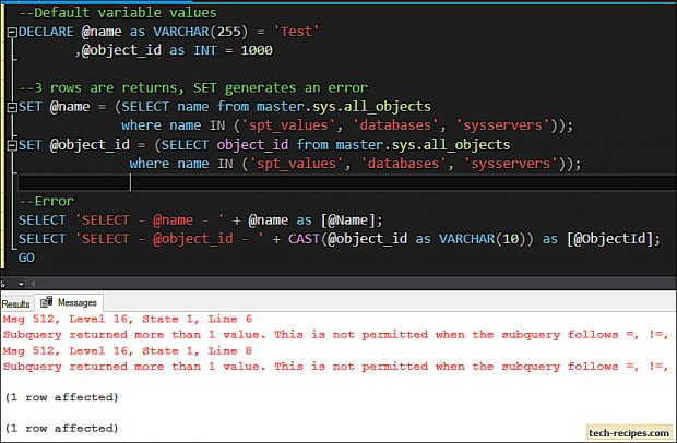 SELECT vs SET - SQL Server_7