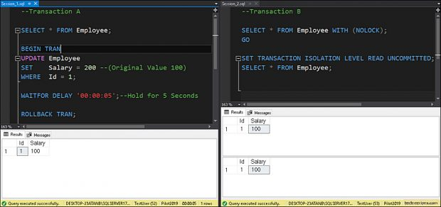 Dirty Read Problem - Read Uncommitted Isolation - SQL Server_7
