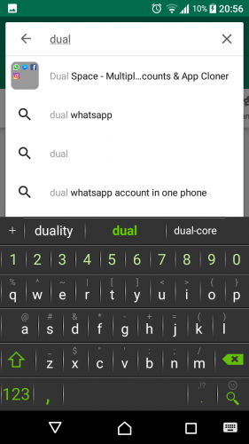 Write dual space and it will be the first app in the pop down menu