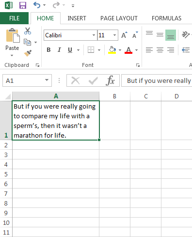 Wrapped text in Excel
