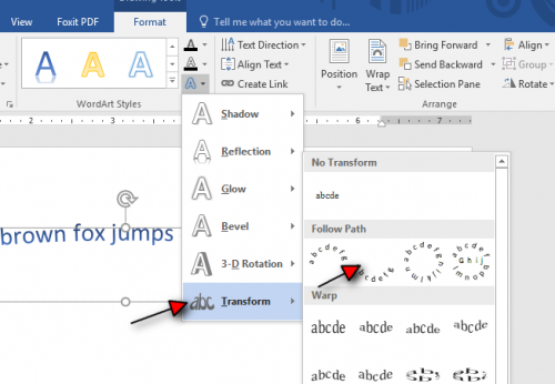 how to arch your text in word tutorial step 6