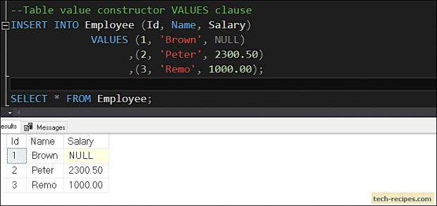 How To Use Table Value Constructor In SQL Server