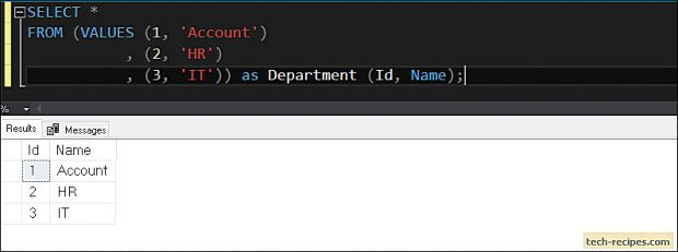 How To Use Table Value Constructor In SQL Server_1