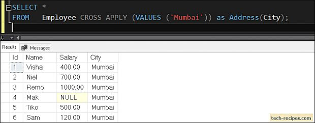 How To Use Table Value Constructor In SQL Server_6