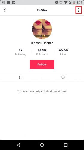 How to block someone on tik tok step 4
