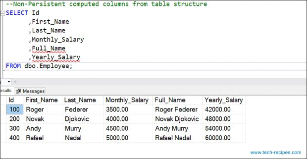 Computed Columns In SQL Server