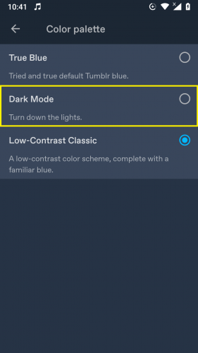 Selecting the Dark Mode in Tumblr 2019 Updated App