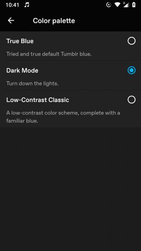 Dark Mode activated in Tumblr 2019 Updated App