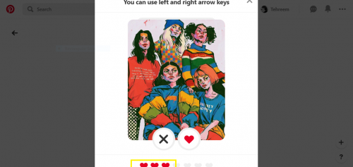 How Pinterest shows number of liked ideas in Quiz by the number of hearts.