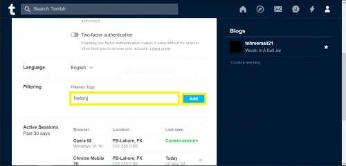 Adding a new tag to filter on Tumblr via browser