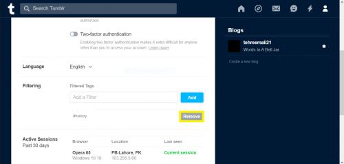 Removing a blocked tag on Tumblr via web