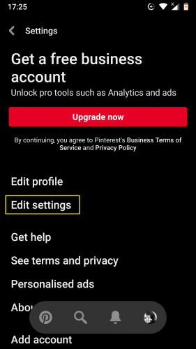 Editing settings in the latest 2019 updated Pinterest app.