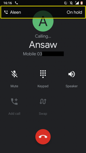 First call automatically put on hold while making a second call in a 3-way call on Android.