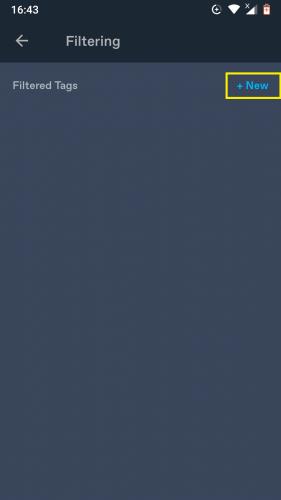 Adding a new tag on Tumblr via app.