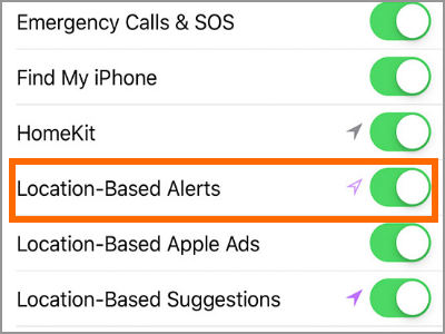 Location-Based Alerts toggle switch