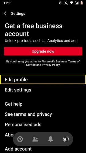 Editing profile settings on Pinterest app.