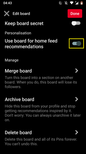 Opting to personalize home feed according to a board on Pinterest for Android.