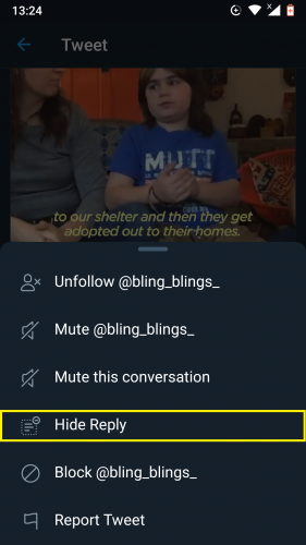 Hiding a reply option in Twitter (2019 update).