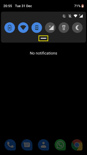 Accessing the scroll down menu in Android to give your Android device a new look by enabling the hidden dark theme (Nougat)