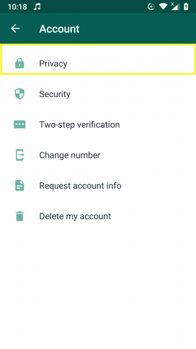 Privacy ssection in settings on WhatsApp.
