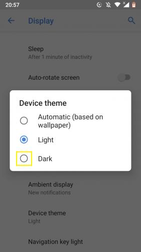 Enabling dark theme on Android Nougat