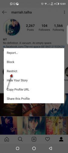 كيفية تقييد شخص ما Instagram 3