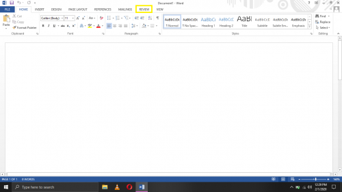 Review tab in Word 2013.