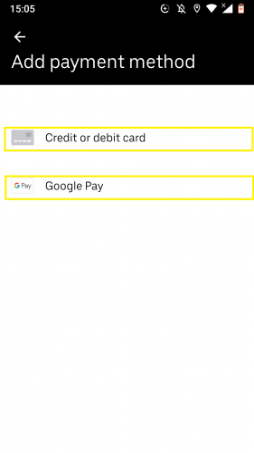 The two different payment methods on Uber.