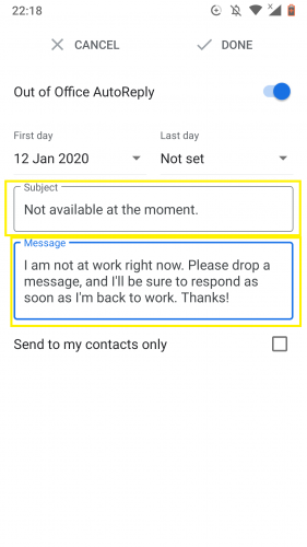 Typing in subject to set out of office autoreply in Gmail for Android.