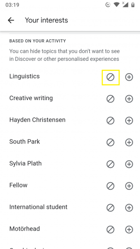 Hiding an interest on Discover on Android 9.
