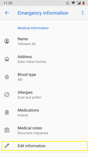 Removing emergency information in Android 9.