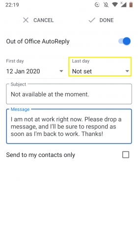 Setting last day to set out of office autoreply in Gmail for Android