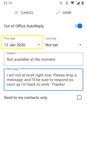 Setting first day to set out of office autoreply in Gmail for Android.
