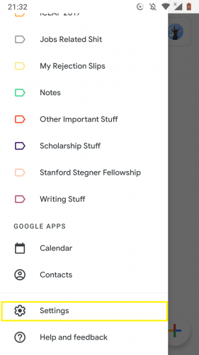 Going to settings to set out of office autoreply in Gmail for Android.