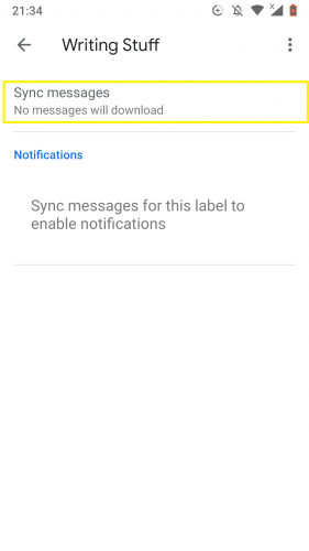 Going to sync options to manage labels  easily in Gmail for Android.