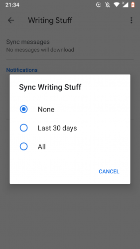 Syncing a Gmail label in Android.
