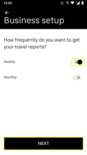 Setting up a business report time duration on Uber for Android.