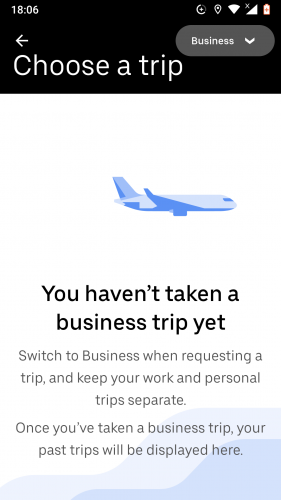 Business profile set up on Uber for Android.