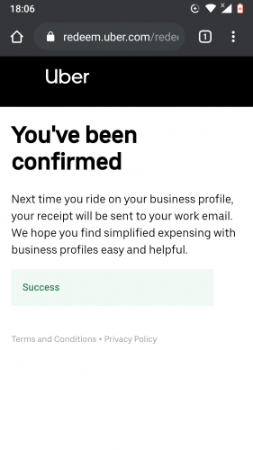 Business profile activation on Uber for Android.