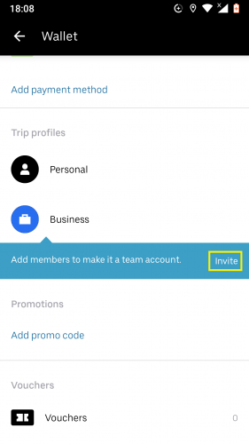 Inviting members in business profile on Uber for Android.