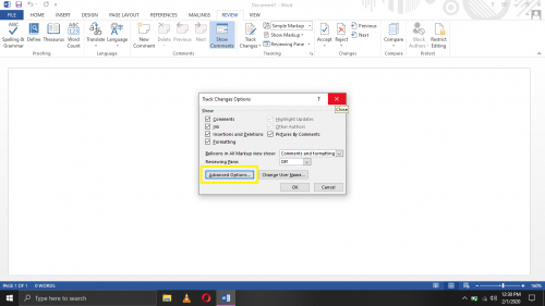 Advanced track changes options in Word 2013.