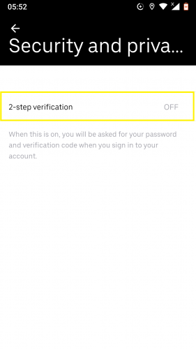 2-step verification on Uber for Android.