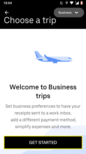 Getting started with a business profile on Uber for Android.