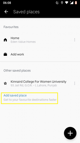 Adding a new saved place in Uber.