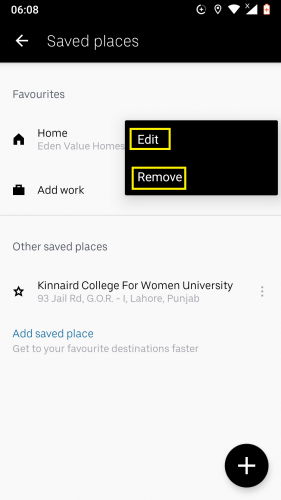 Editing and/or removing a saved place in Uber for Android.