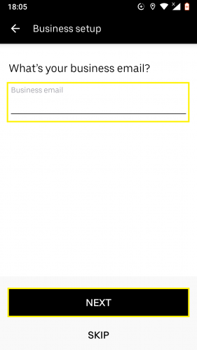 Adding a business email in Uber business profile for Android.