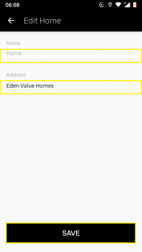 Editing an already existing saved place in Uber for Android.